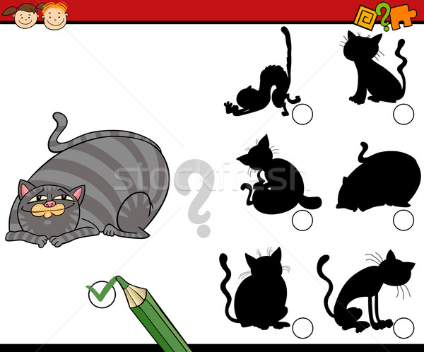 shadows task cartoon with cats Stock photo © izakowski