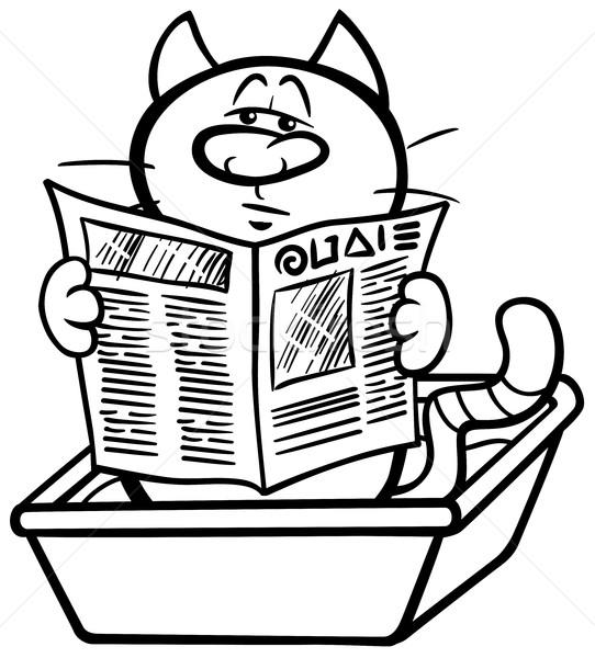 cat in litter box coloring page Stock photo © izakowski
