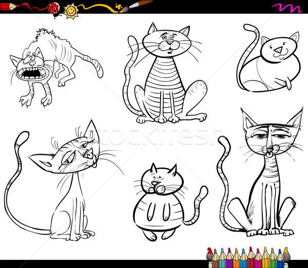 Karikatür Kedi Boyama Kitabı Siyah Beyaz örnek Vektör