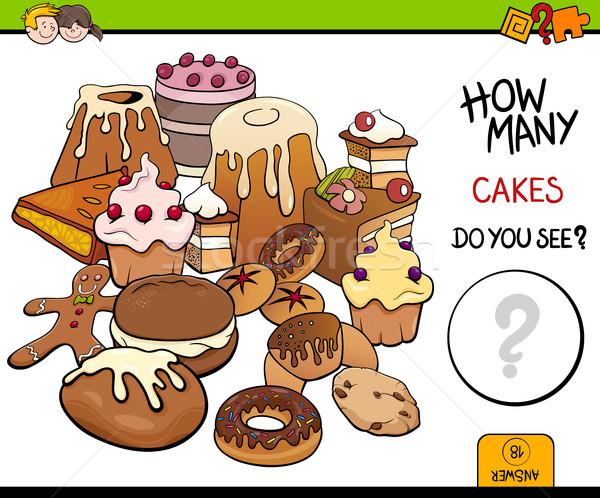 Stock photo: counting cakes educational activity