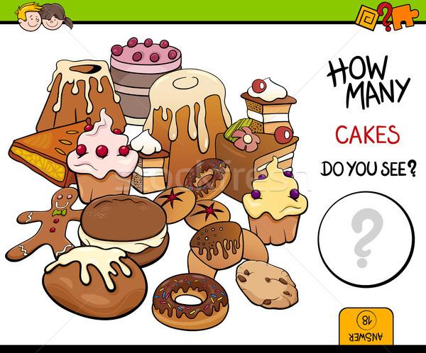 counting cakes educational activity Stock photo © izakowski