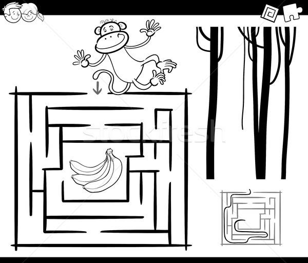 Labirynt małpa strona czarno białe cartoon ilustracja Zdjęcia stock © izakowski