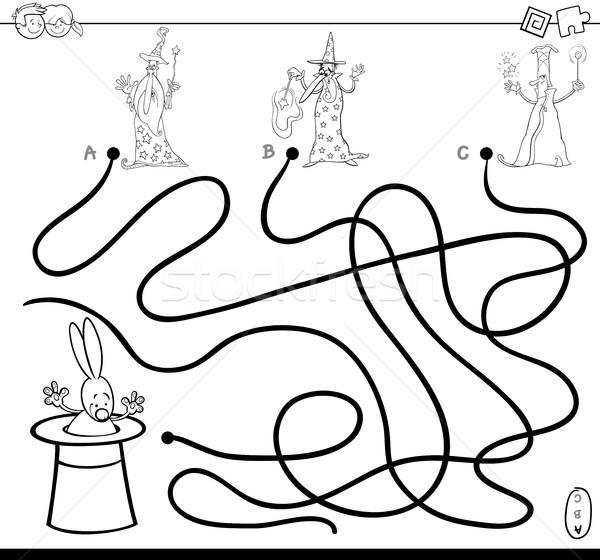 paths maze with wizards coloring book Stock photo © izakowski