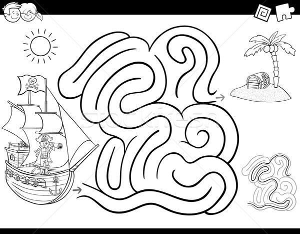 Labirintus játék kifestőkönyv kalóz feketefehér rajz Stock fotó © izakowski