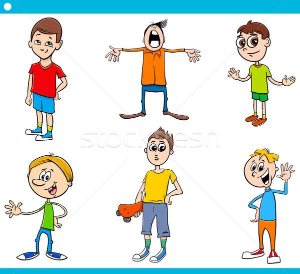 boys children characters cartoon set Stock photo © izakowski