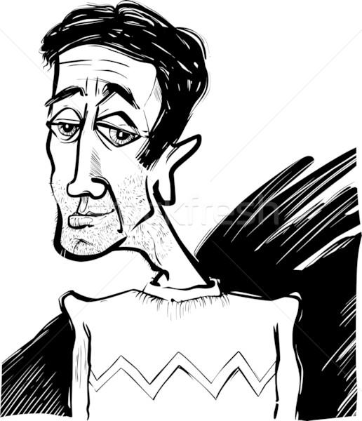 Caricatura giovane cartoon sketch illustrazione faccia Foto d'archivio © izakowski