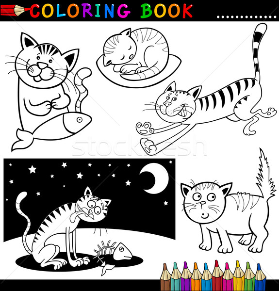 Cartoon Cats for Coloring Book or Page Stock photo © izakowski