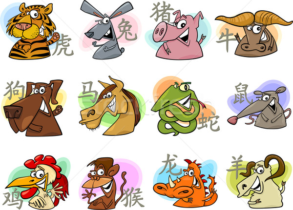 chinese cartoon zodiac signs Stock photo © izakowski