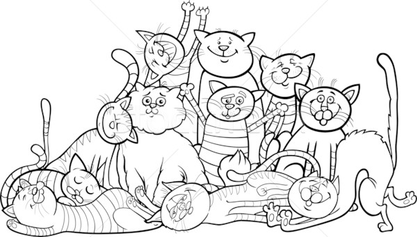 happy cats group cartoon for coloring book Stock photo © izakowski