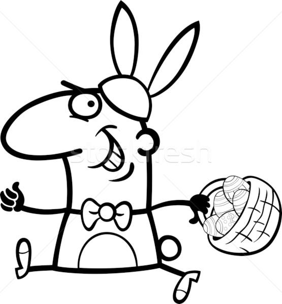 man as easter bunny cartoon for coloring Stock photo © izakowski