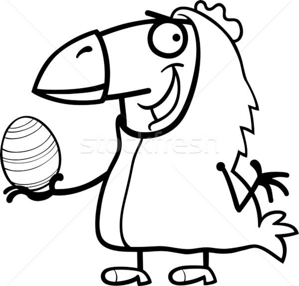 man as easter chicken cartoon for coloring Stock photo © izakowski
