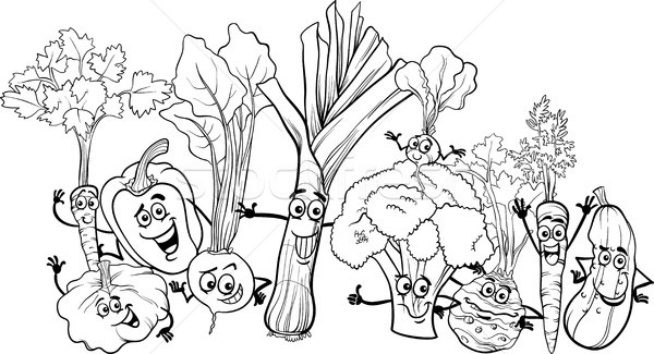 Cartoon légumes livre de coloriage blanc noir illustration drôle Photo stock © izakowski