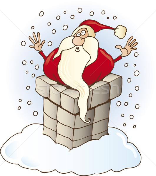 Stock photo: Santa Claus stuck in chimney