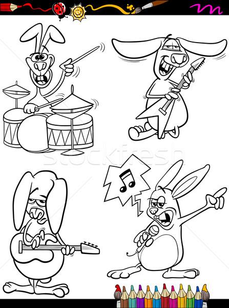 Nyulak zenészek szett rajz kifestőkönyv oldal Stock fotó © izakowski