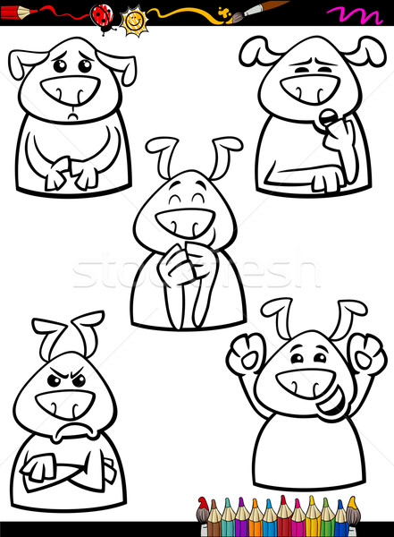 dog emotion set cartoon coloring book Stock photo © izakowski