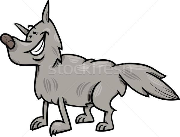 Gri kurt hayvan karikatür örnek komik Stok fotoğraf © izakowski