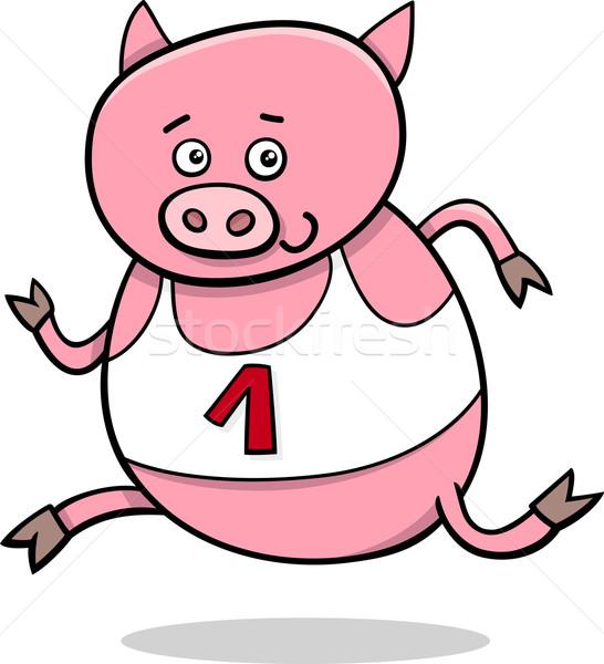 running piglet cartoon illustration Stock photo © izakowski