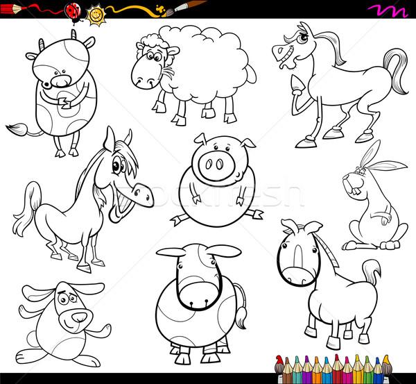Boerderijdieren pagina kleurboek cartoon illustratie ingesteld Stockfoto © izakowski