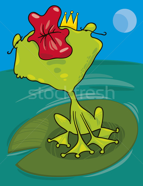 Prins kikker kus cartoon illustratie grappig Stockfoto © izakowski