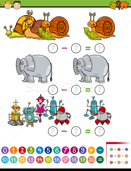 math task cartoon illustration Stock photo © izakowski