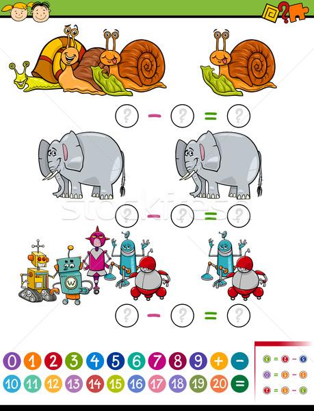 Matematyki zadanie cartoon ilustracja edukacji matematyczny Zdjęcia stock © izakowski