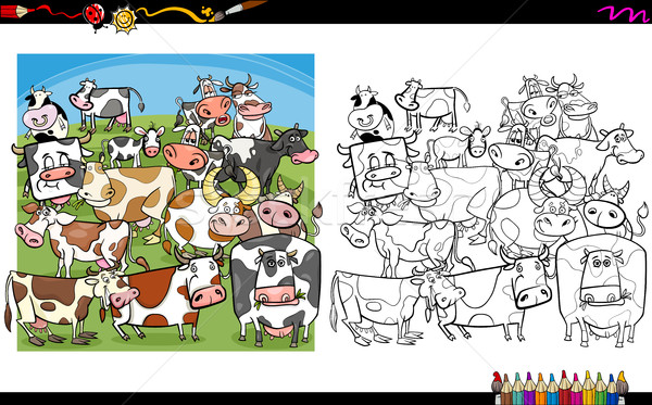 Cow Characters Coloring Book Vector Illustration C Igor Zakowski