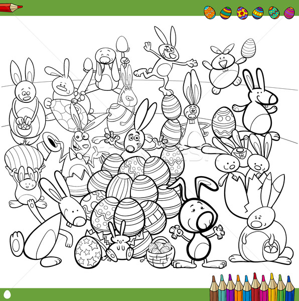 easter bunnies for coloring Stock photo © izakowski