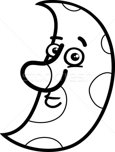 Ay Boyama Kitabı Siyah Beyaz Karikatür örnek Karakter