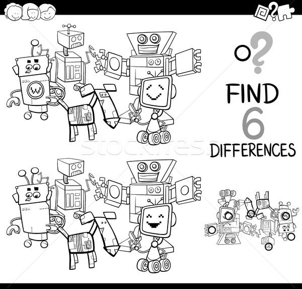 Diferencias robots página blanco negro Cartoon ilustración Foto stock © izakowski