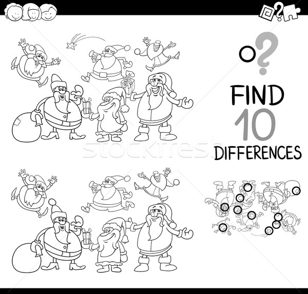 xmas difference game coloring page Stock photo © izakowski