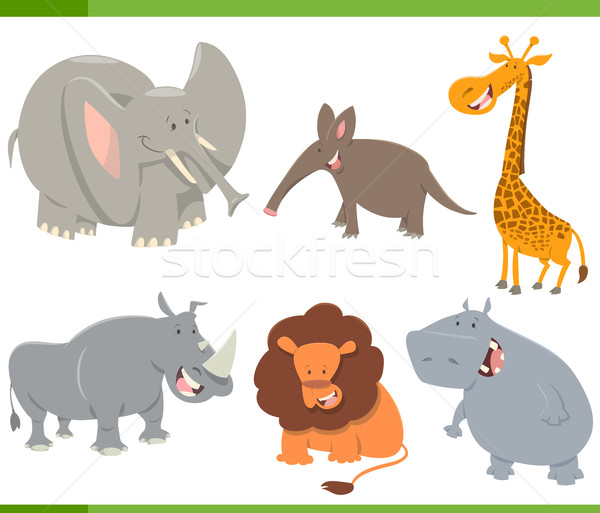 Cute animaux de safari cartoon illustration Safari Photo stock © izakowski
