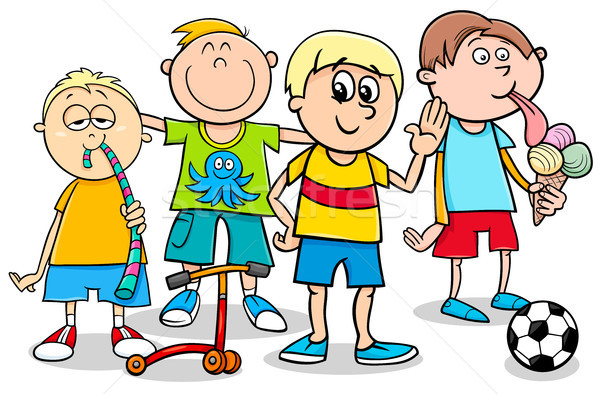 Сток-фото: Kid · мальчики · игрушками · Cartoon · иллюстрация