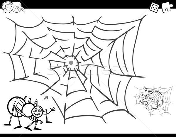 Labirent oyun boyama kitabı örümcek ağı siyah beyaz karikatür Stok fotoğraf © izakowski