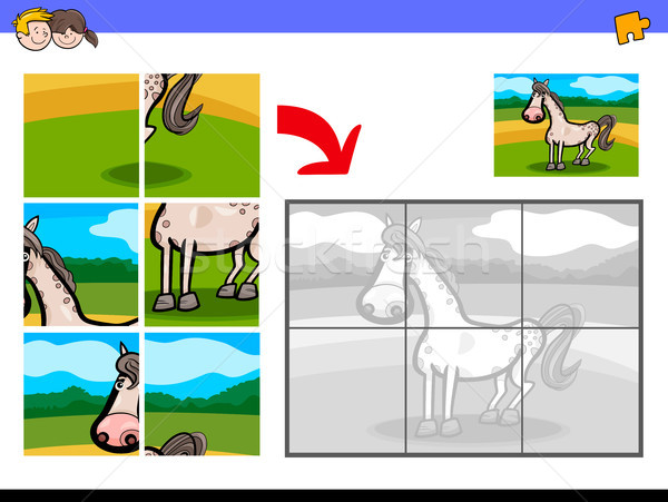 jigsaw puzzles with horse farm animal Stock photo © izakowski