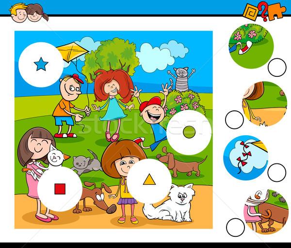Combinar peças quebra-cabeça crianças animais de estimação desenho animado Foto stock © izakowski