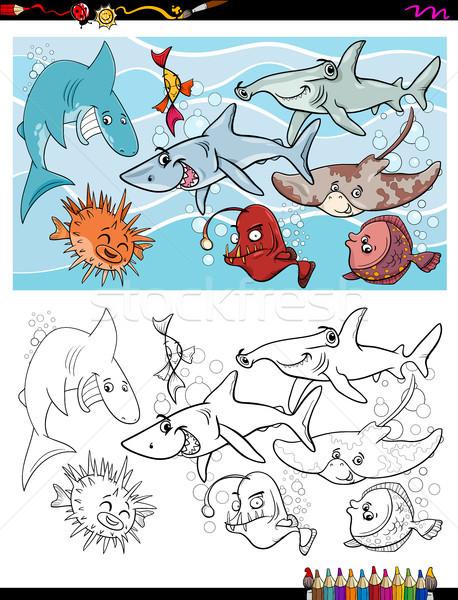 fish marine life characters group color book Stock photo © izakowski