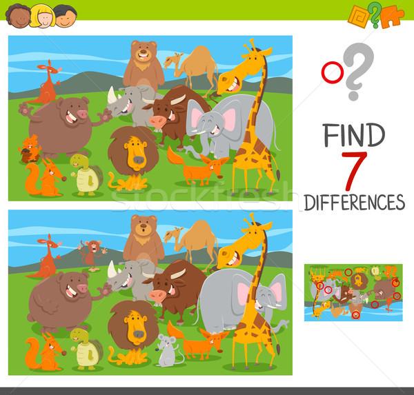 Diferenças quebra-cabeça jogo animal desenho animado Foto stock © izakowski