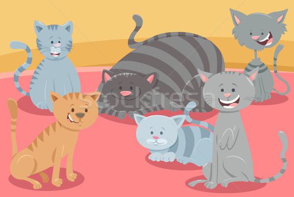 cute cats or kittens animal characters group Stock photo © izakowski