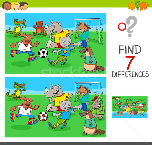 Encontrar diferencias juego animales jugando fútbol Foto stock © izakowski