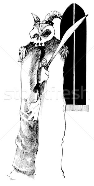 Fantom koponya kard rajz illusztráció fekete Stock fotó © izakowski