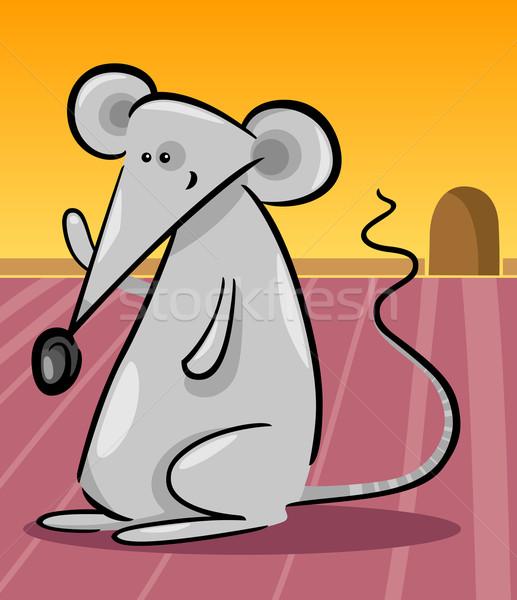 cute gray mouse cartoon illustration Stock photo © izakowski