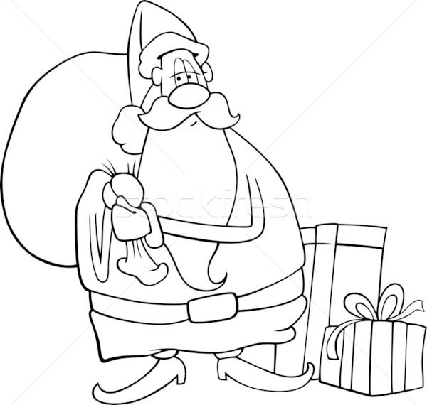 Noel Baba Karikatür Boyama Kitabı örnek Komik Vektör