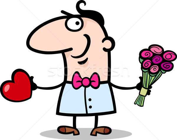 man with heart and flowers cartoon Stock photo © izakowski