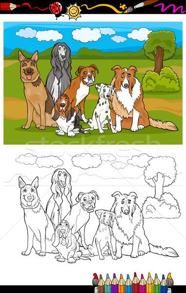 dogs breeds cartoon for coloring book Stock photo © izakowski