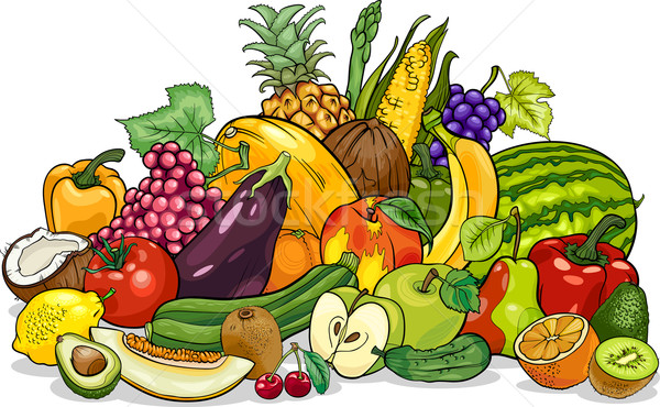 fruits and vegetables group cartoon illustration Stock photo © izakowski