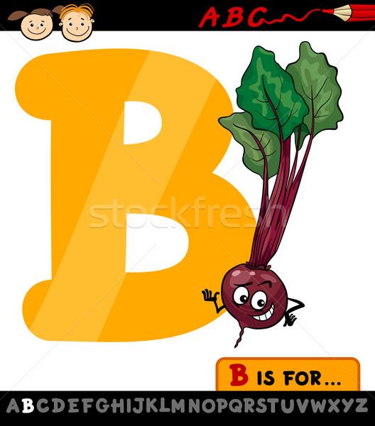 letter b with beet cartoon illustration Stock photo © izakowski