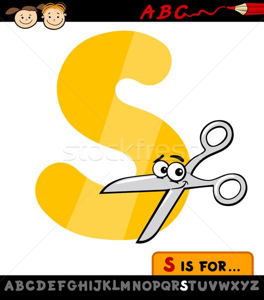 letter s with scissors cartoon illustration Stock photo © izakowski