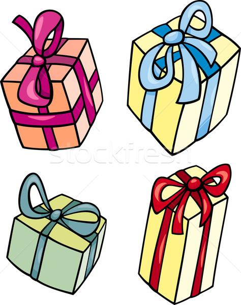 christmas or birthday gift clip art set Stock photo © izakowski