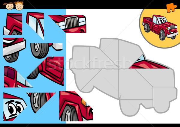 cartoon car jigsaw puzzle game Stock photo © izakowski