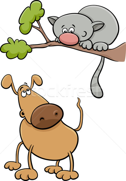dog and cat cartoon illustration Stock photo © izakowski